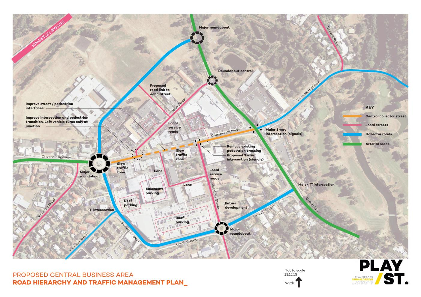 Proposed central Kingston area, roads and traffic flow