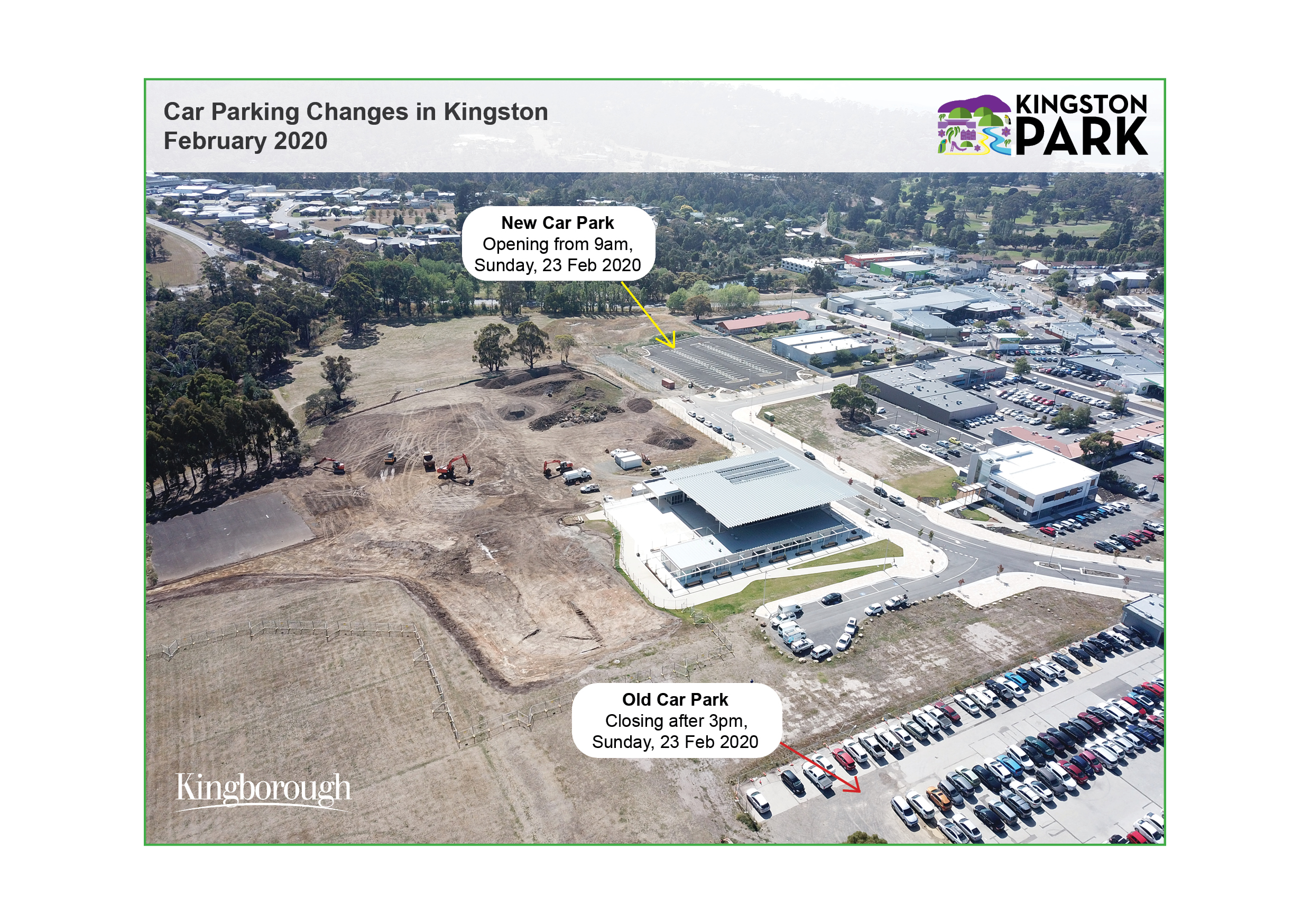 Aerial photo of Kingston Park showing new car park opening on 23 February and old car park closing from 5pm on Sunday 23 February 2020