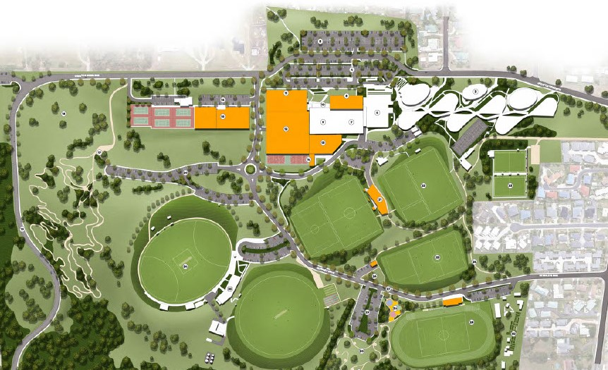 Map of the future vision for the Kingborough Sports Precinct
