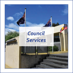 Button to find out about Council Services which is a photo of the Civic Centre in Kingston