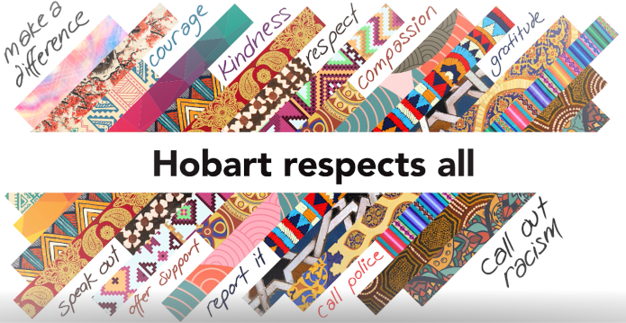 Graphic image saying Hobart respects all