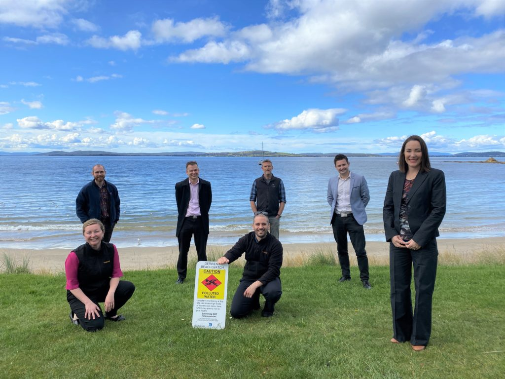 Photo of the Council's water quality taskforce officers with Mayor Winter and Deputy Mayor Westwood at Blackmans Bay Beach