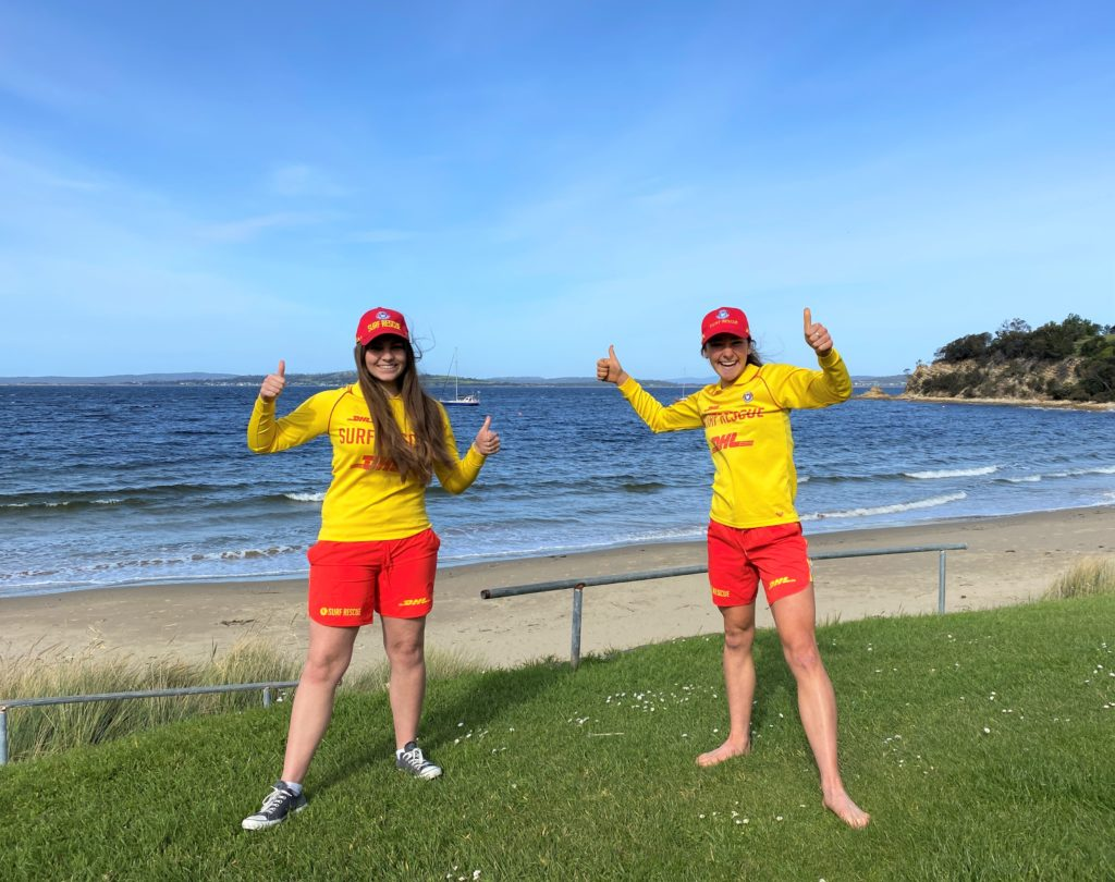 Photo of Gabriella Lohrey and Madeleine Fasnacht from the Kingston Beach Surf Lifesaving Clubat Blackmans Bay Beach (south).